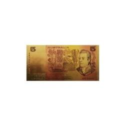 Australia biljet 5 Dollar in goud met kleuropdruk 'Joseph Banks'