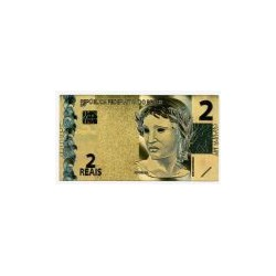 Brazil biljet 2 Reals in goud