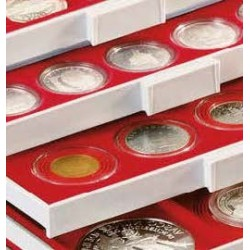 Lindner STANDAARD muntenbox met vierkante vakken (Ø28 mm)