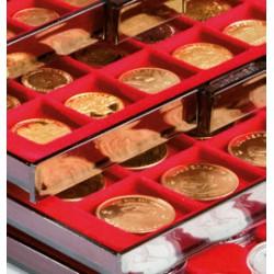 Lindner ROOKGLAS muntenbox met ronde vakken (Ø37 mm)