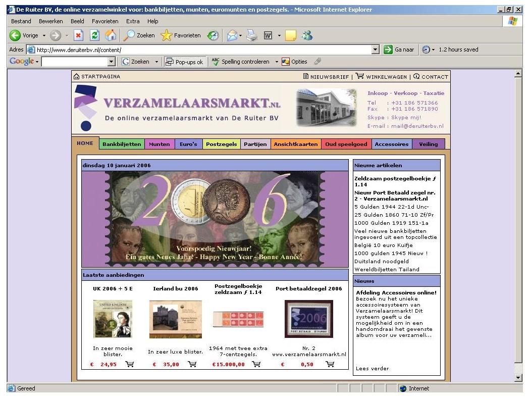 OPRICHTING VAN DE WEBWINKEL WWW.VERZAMELAARSMARKT.NL